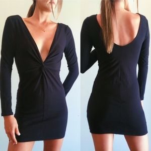 Nasty Gal Plunging Neck Black Dress